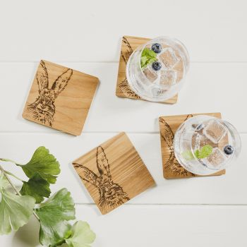 Buy 4 Hare Veneer Coasters