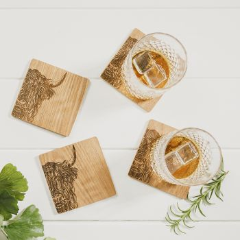 Buy 4 Highland Cow Veneer Coasters