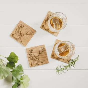 Buy 4 Stag Veneer Coasters
