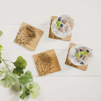 Buy 4 Thistle Veneer Coasters