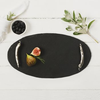 Oval Slate Tray with Chilli Handles