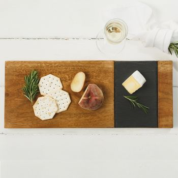 Acacia and Slate Serving Board