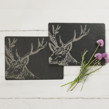 2 Slate Stag Place Mats