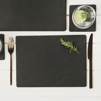 Two Slate Rectangular Place Mats