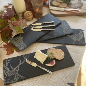 JSMCBSCA 4 Mini Country Animal Cheese Board and Knife Sets 1