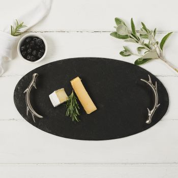 Oval Slate Tray with Antler Handles