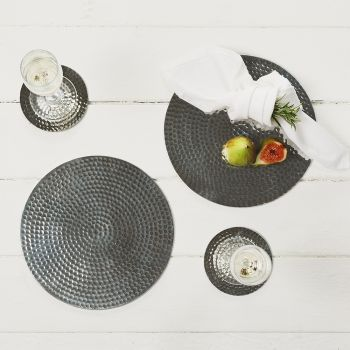 Two Stainless Steel Flat Hammered Place Mats