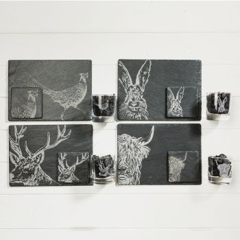 Main image of Country Animals Slate and Glass Gift Set