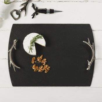 Medium Slate Tray with Antler