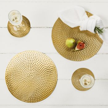 Two Gold Flat Hammered Place Mats