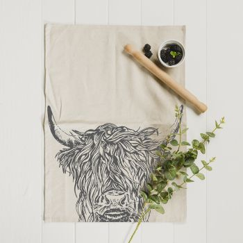 Main image of Highland Cow Linen Tea Towel