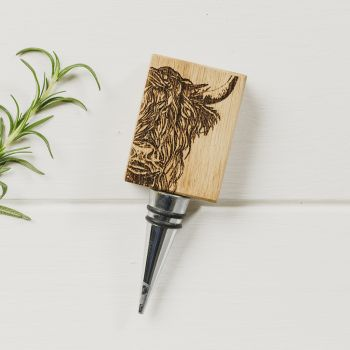 Buy Highland Cow Oak Bottle Stopper