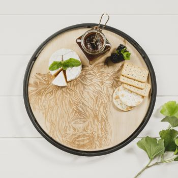 Product Image Highland Cow Round Metal Framed Sycamore Serving Tray at JustSlate