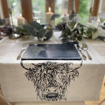 Main image of Highland Cow Linen Table Runner