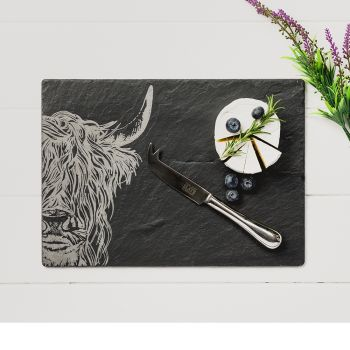 Slate Highland Cow Cheese Board & Knife Gift Set