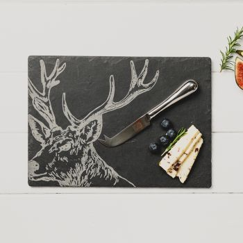Slate Stag Cheese Board & Knife Gift Set