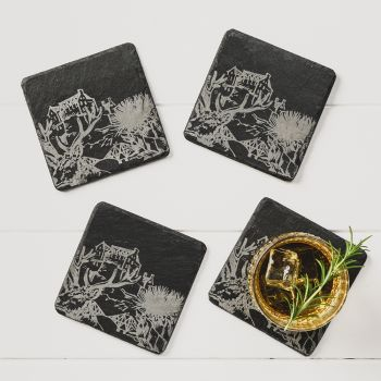 4 Scotland Slate Square Coasters