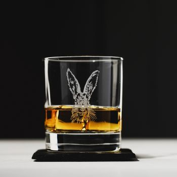 Hare Engraved Glass Tumbler With Slate Coaster Gift Set