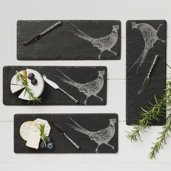 4 Mini Slate Pheasant Cheese Board & Knife Set