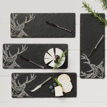 4 Slate Mini Stag Cheese Board & Knife Set