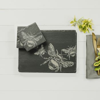Main image of Set of 2 Bee Slate Coasters & Place Mats