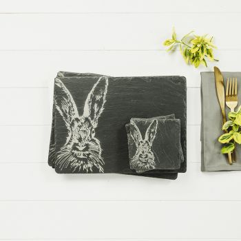 Main image of Set of 2 Hare Slate Coasters & Place Mats