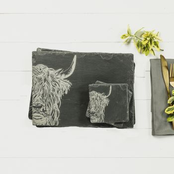 Main image of Set of 2 Highland Cow Slate Coasters & Place Mats