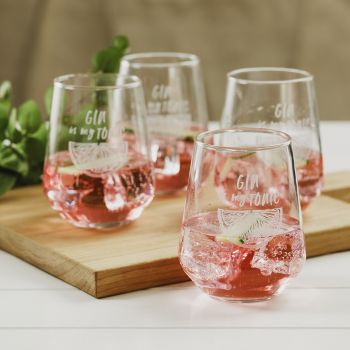 Main image of Set of 4 Gin Tonic Stemless Glasses