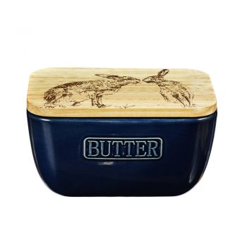 Alternative image of Kissing Hares Oak and Ceramic Butter Dish - Blue