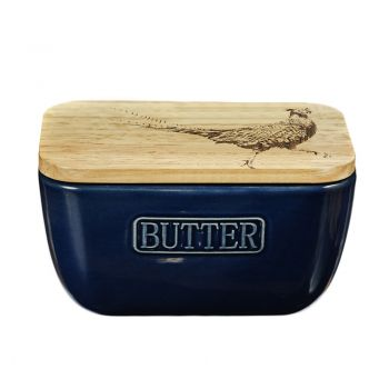 Alternative image of Pheasant Oak and Ceramic Butter Dish - Blue