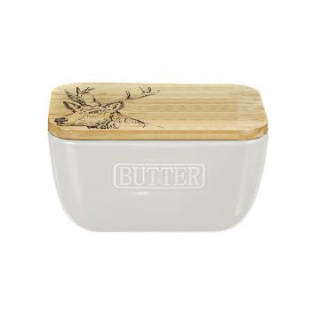 Small image of Stag Oak and Ceramic Butter Dish - White