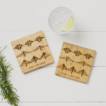 2 Forth Bridges Oak Coasters