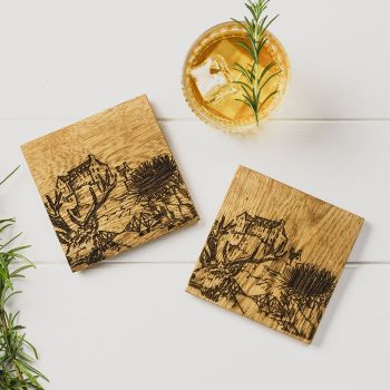 2 Scotland Oak Coasters