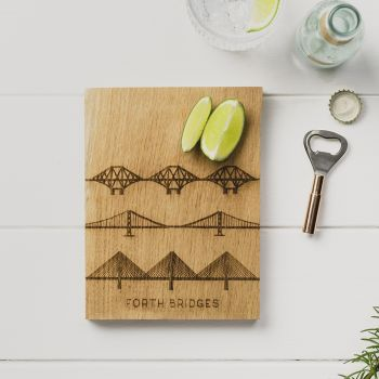 Forth Bridges Oak Cutting Board & Bottle Opener Set