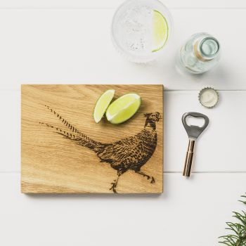 Pheasant Oak Cutting Board & Bottle Opener Set