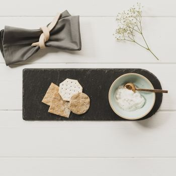 Stoneware and Slate Serving Set