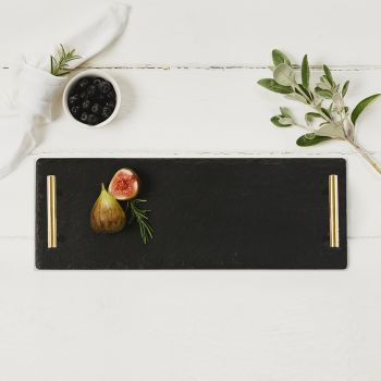 Small Slate Serving Tray with Gold Handles