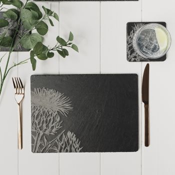 2 Contemporary Thistle Slate Place Mats