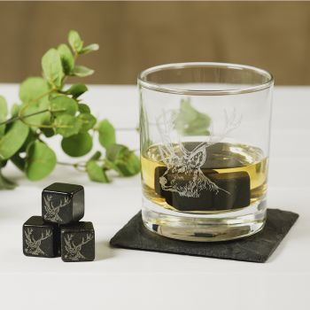 Main image of Set of 6 Stag Engraved Whisky Stones