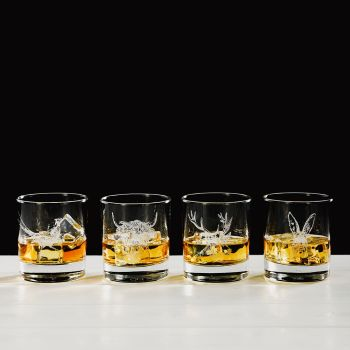 Country Animals Engraved Glass Tumbler Gift Set (Set of 4)