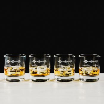 Forth Bridges Engraved Glass Tumbler Gift Set (Set of 4)