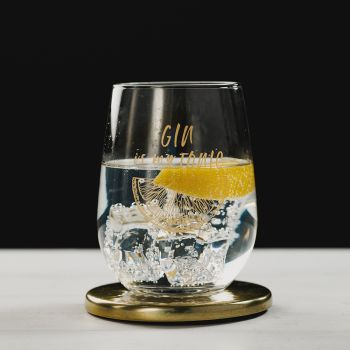 Gold Gin is my Tonic Engraved Glass Tumbler with Gold Coaster Gift Set