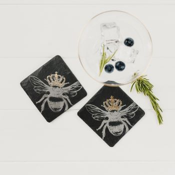 2 Slate Gold Leaf Crowned Bee Coasters