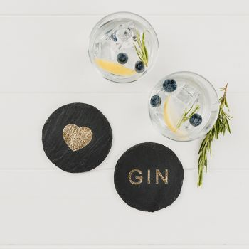 2 Gold Love Gin Coasters