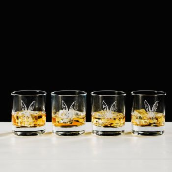 Hare Engraved Glass Tumbler Gift Set (Set of 4)