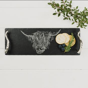 Small Slate Highland Cow Serving Tray