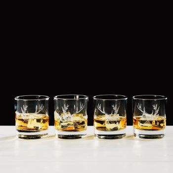 Stag Engraved Glass Tumbler Gift Set (Set of 4)
