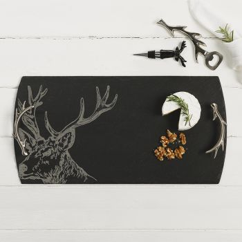 Large Slate Stag Serving Tray