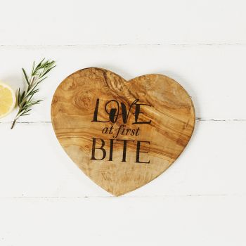 Love at First Bite Heart Shaped Board 21cm