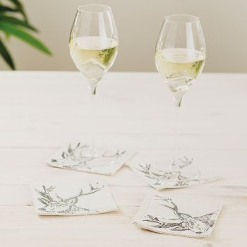 Main image of 4 Stag Linen Coasters
